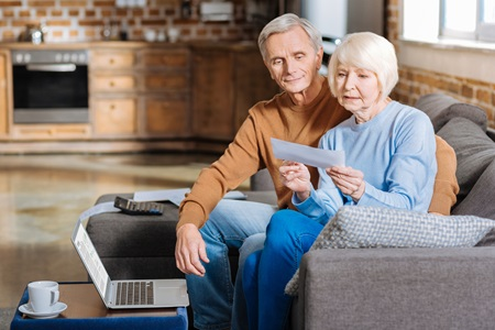 couple reviewing bill